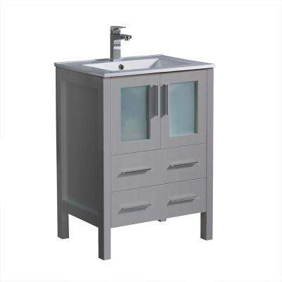 Torino 24 in. Bath Vanity in Gray with Ceramic Vanity Top in White with White Basin