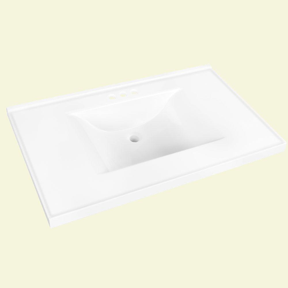Glacier Bay 37 in. W x 22 in. D Cultured Marble Vanity Top in White with White Basin