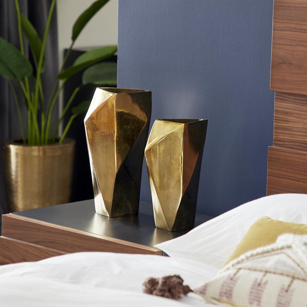 12 in., 14 in. Large Modern Gold Geometric Metal Vases (Set of 2)