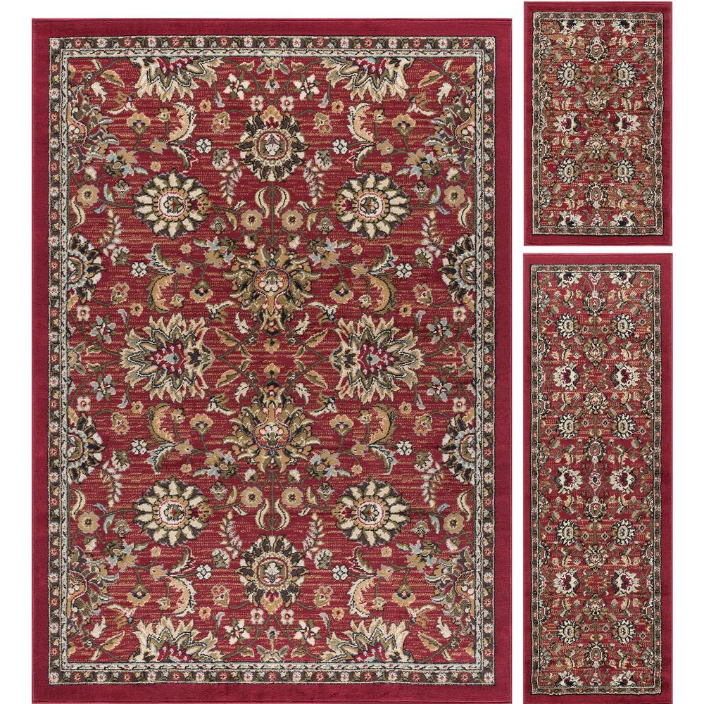 Tayse Rugs Laguna Red 3 Piece Area Rug Set Lgn4590 Set3 The Home Depot