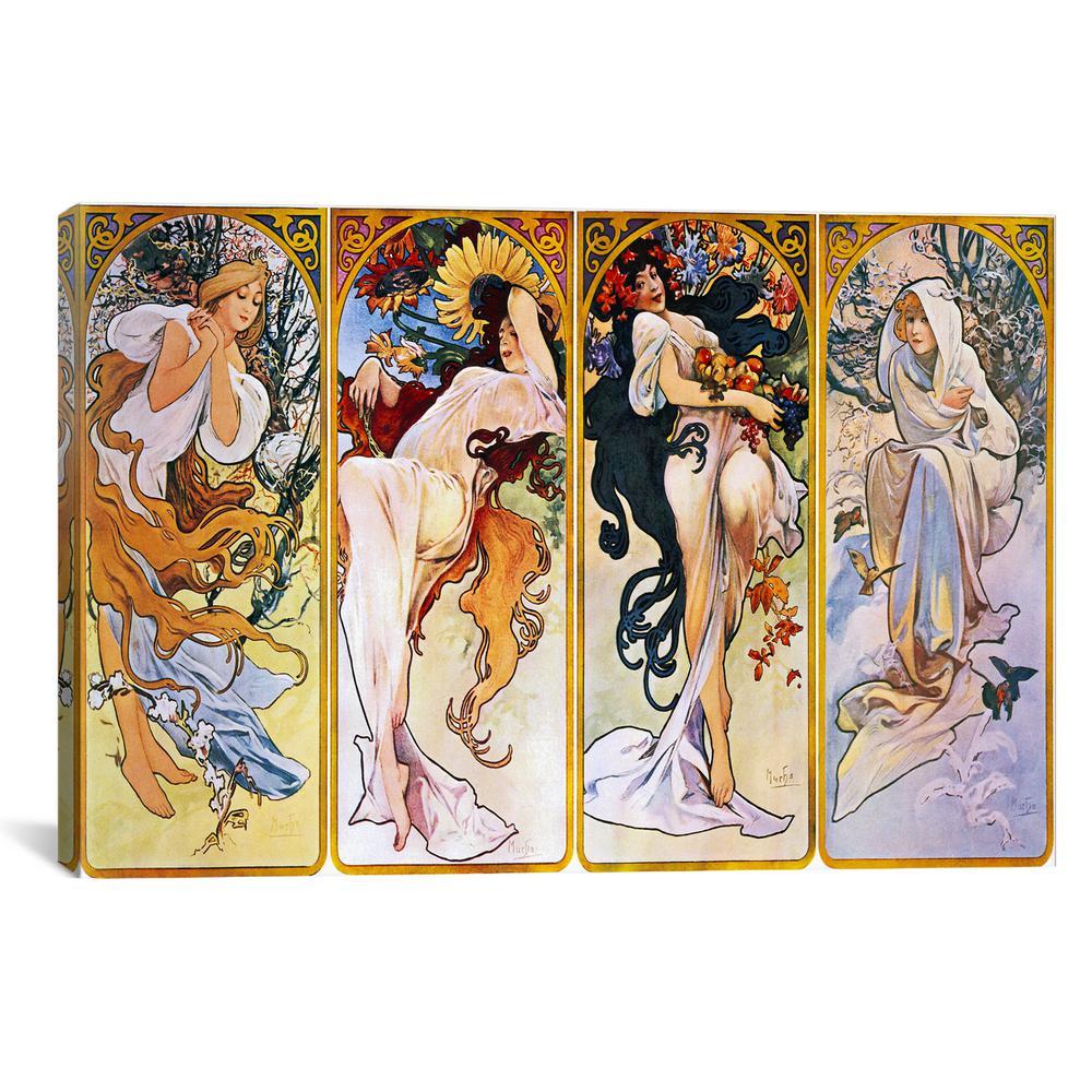 """The Four Seasons (1895)"" by Alphonse Mucha Canvas Wall Art"