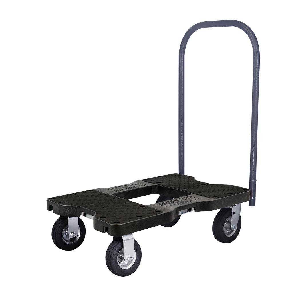 1,500 lb. Capacity Professional Air-Ride Push Cart E-Track Dolly in Black