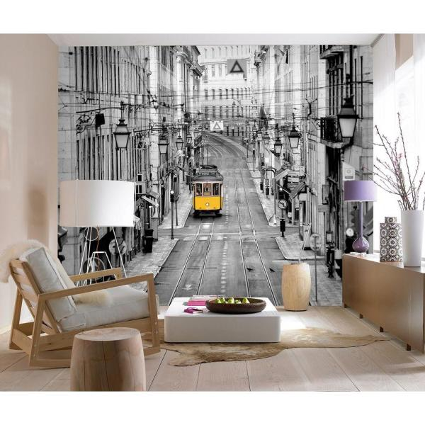 Ideal Decor 144 In W X 100 In H Streets Of Lisbon Wall Mural Dm971