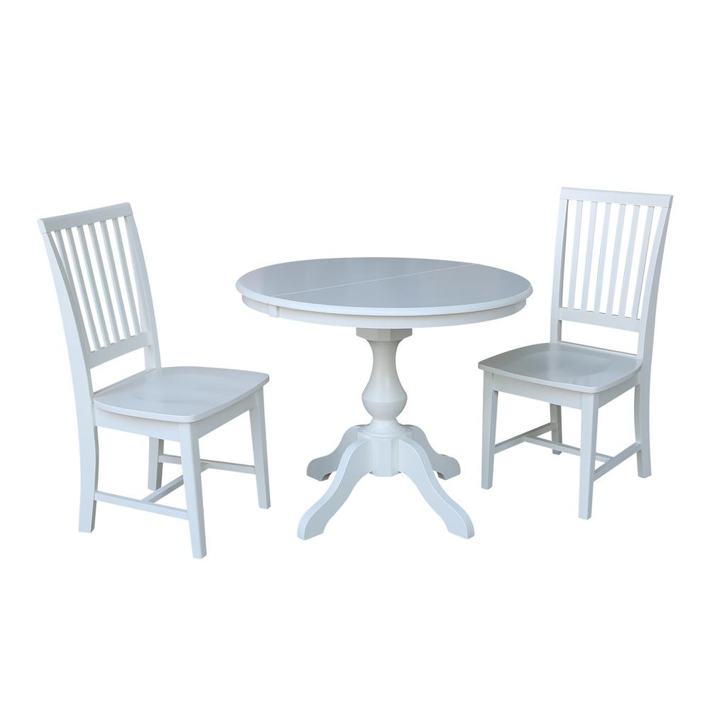 International Concepts Sophia 3 Piece White Oval Dining Table Set With Pair  Of Mission Chairs