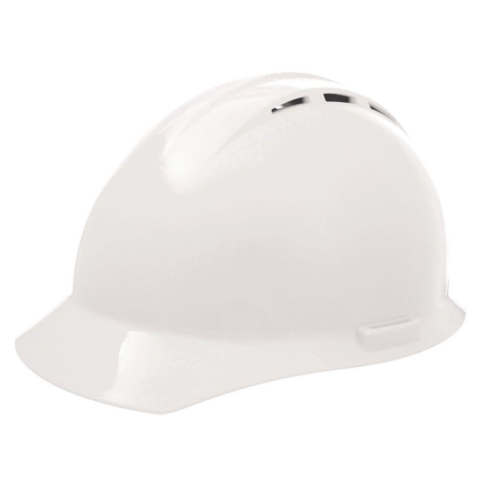 Americana Vent 4 Point Nylon Suspension Slide-Lock Cap Hard Hat in White