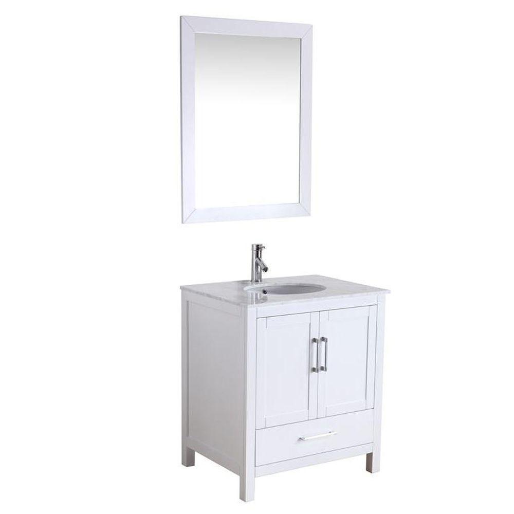 Virtu USA Savannah 28-1/2 in. Single Basin Vanity in White Marble Vanity Top Italian Carrara White Framed Mirror-DISCONTINUED