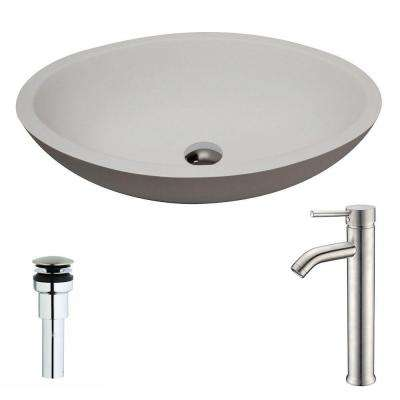 Maine Series 1-Piece Man Made Stone Vessel Sink in Matte White with Fann Faucet in Brushed Nickel