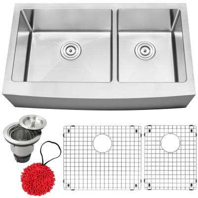 Bryce Farmhouse Apron Front 16-Gauge Stainless Steel 36 in. Double Basin Kitchen Sink with Accessory Kit