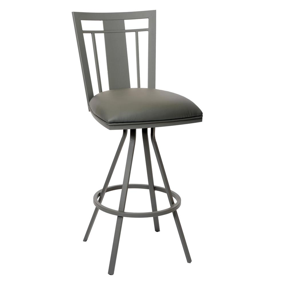 Armen Living Cleo 26 In. Gray Faux Leather And Gray Metal Finish  Transitional Barstool