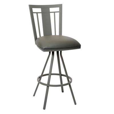 Cleo 26 in. Gray Faux Leather and Gray Metal Finish Transitional Barstool