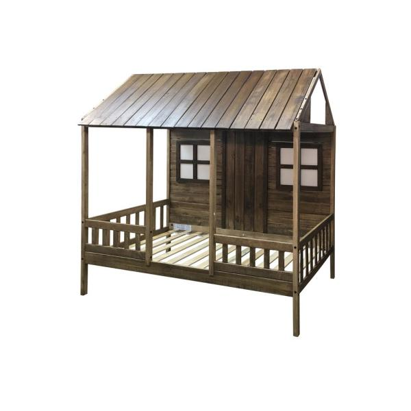 Front Porch Rustic Driftwood Twin Low Loft Bed