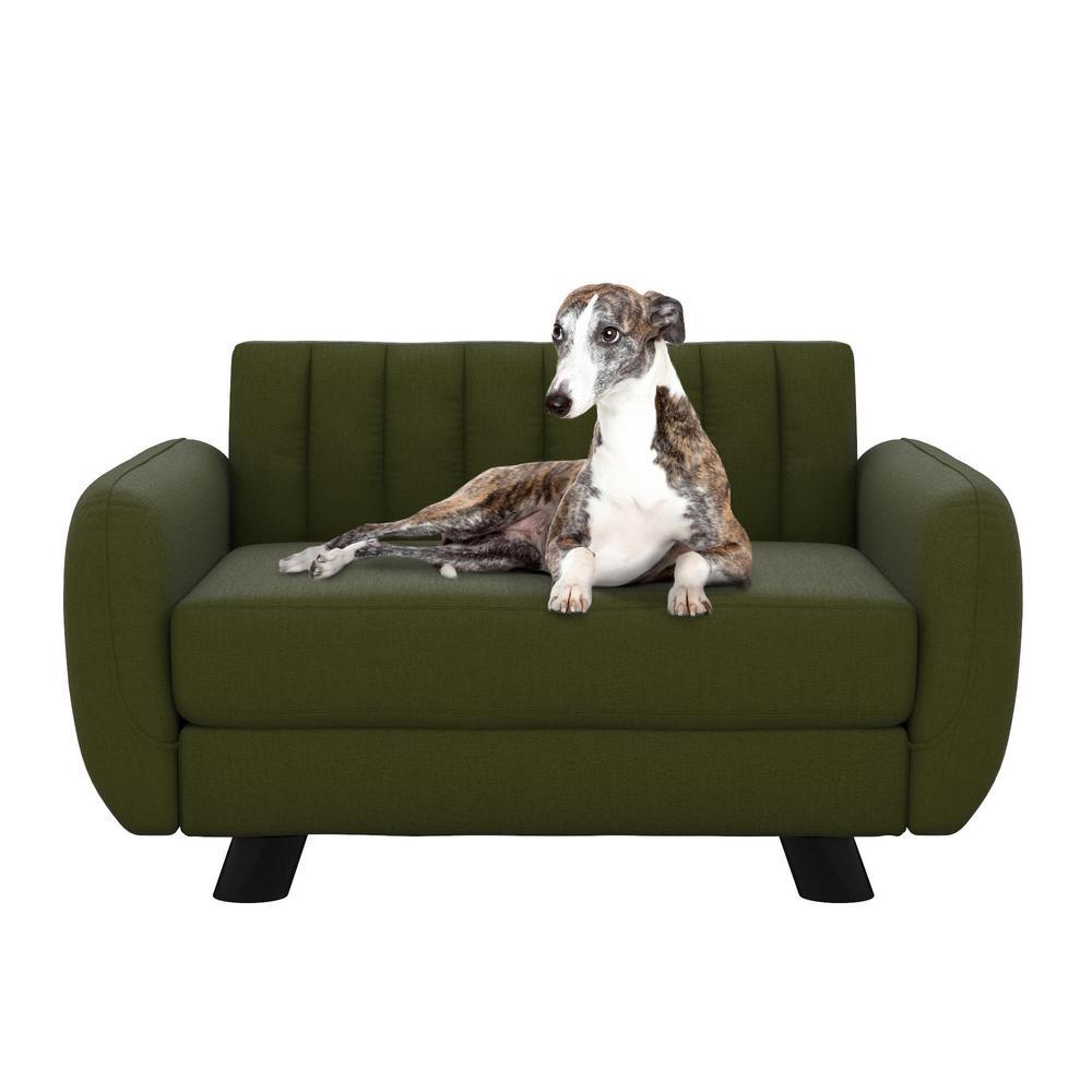 Brittany Small/Medium Green Linen Pet Bed