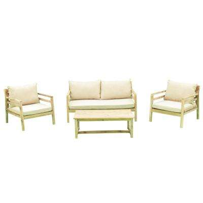 Anaheim 4 -Piece Wood Outdoor Sofa Set with Beige Cushions