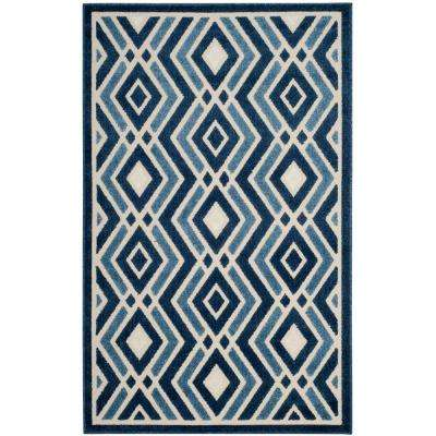 Cottage Ivory/Blue 3 ft. x 5 ft. Indoor/Outdoor Area Rug