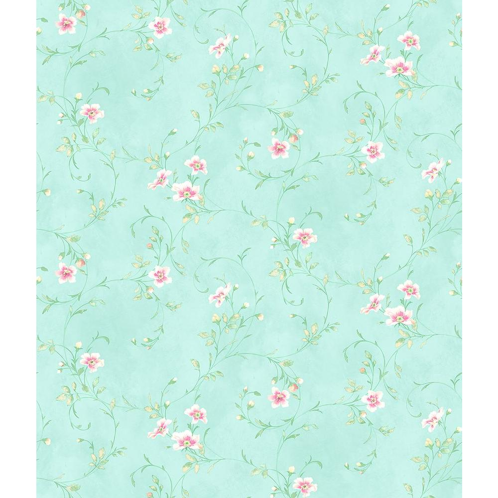 Capri Aqua Floral Scroll Wallpaper