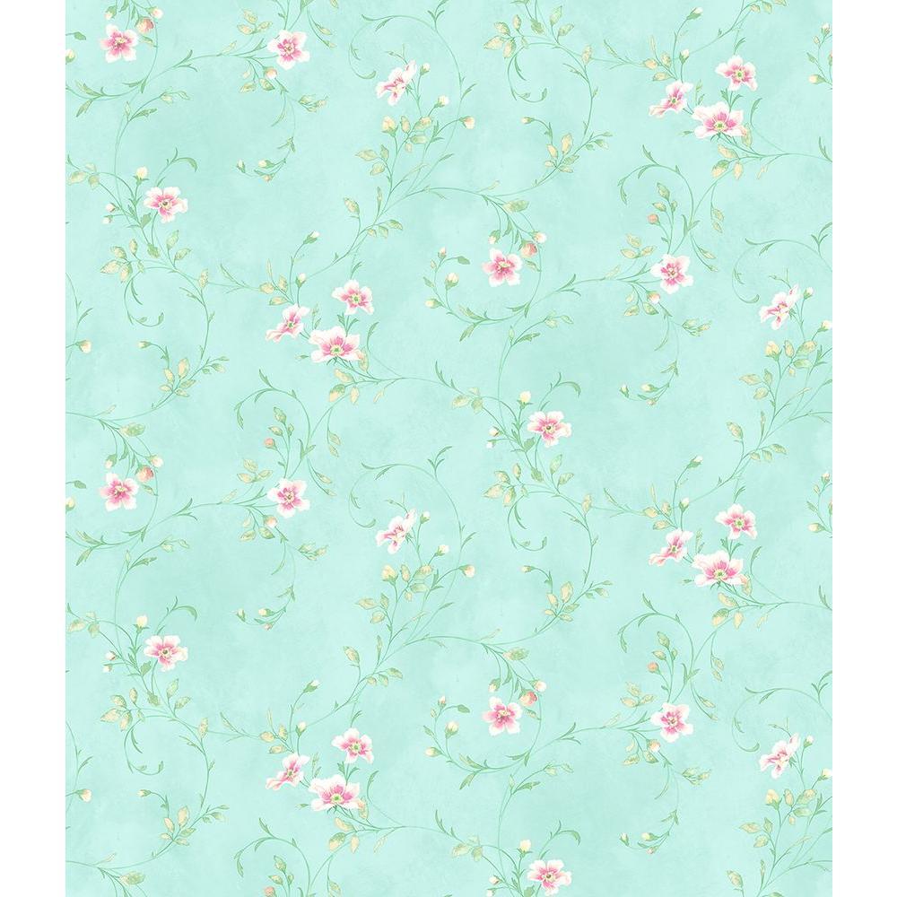 Chesapeake Capri Aqua Floral Scroll Wallpaper HAS54635
