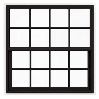 42 in. x 42 in. V-4500 Series Black FiniShield Single-Hung Vinyl Window with 8-Lite Colonial Grids/Grilles