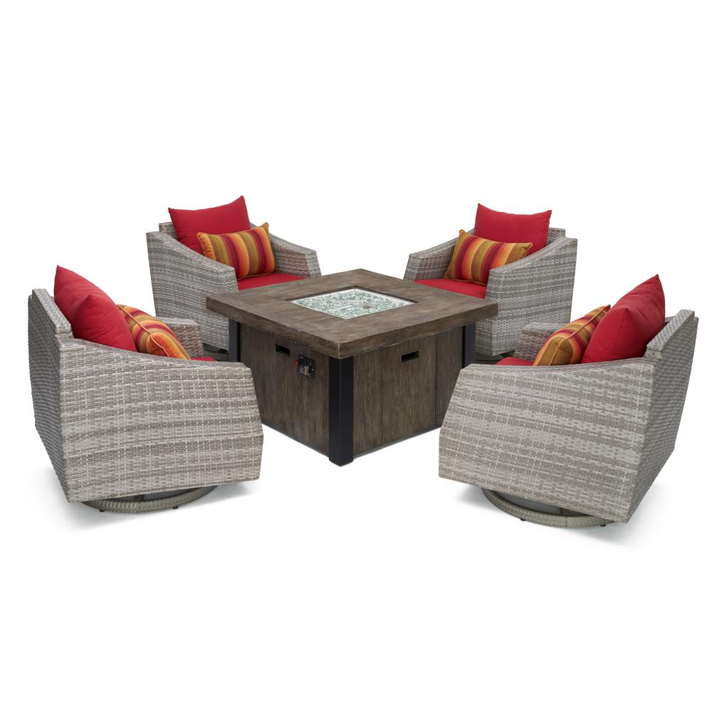 RST Brands Cannes 5-Piece Motion Wicker Patio Fire Pit Co...