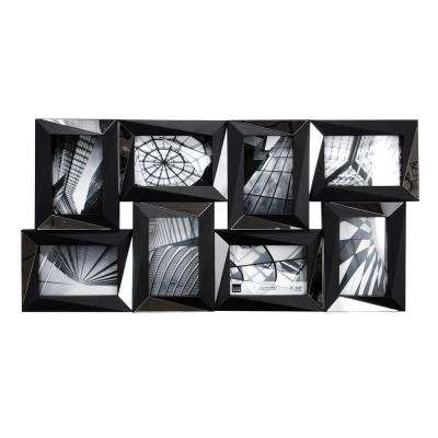 Mira 8‐Opening 4 in. x 6 in. (15 in. x 28 in.) Mirrored Black Collage Frame