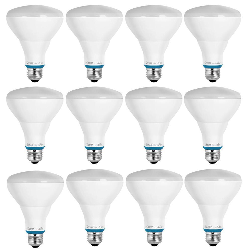 HomeBrite 65W Equivalent Soft White (2700K) BR30 Dimmable Bluetooth Smart LED Flood Light Bulb (Case of 12)