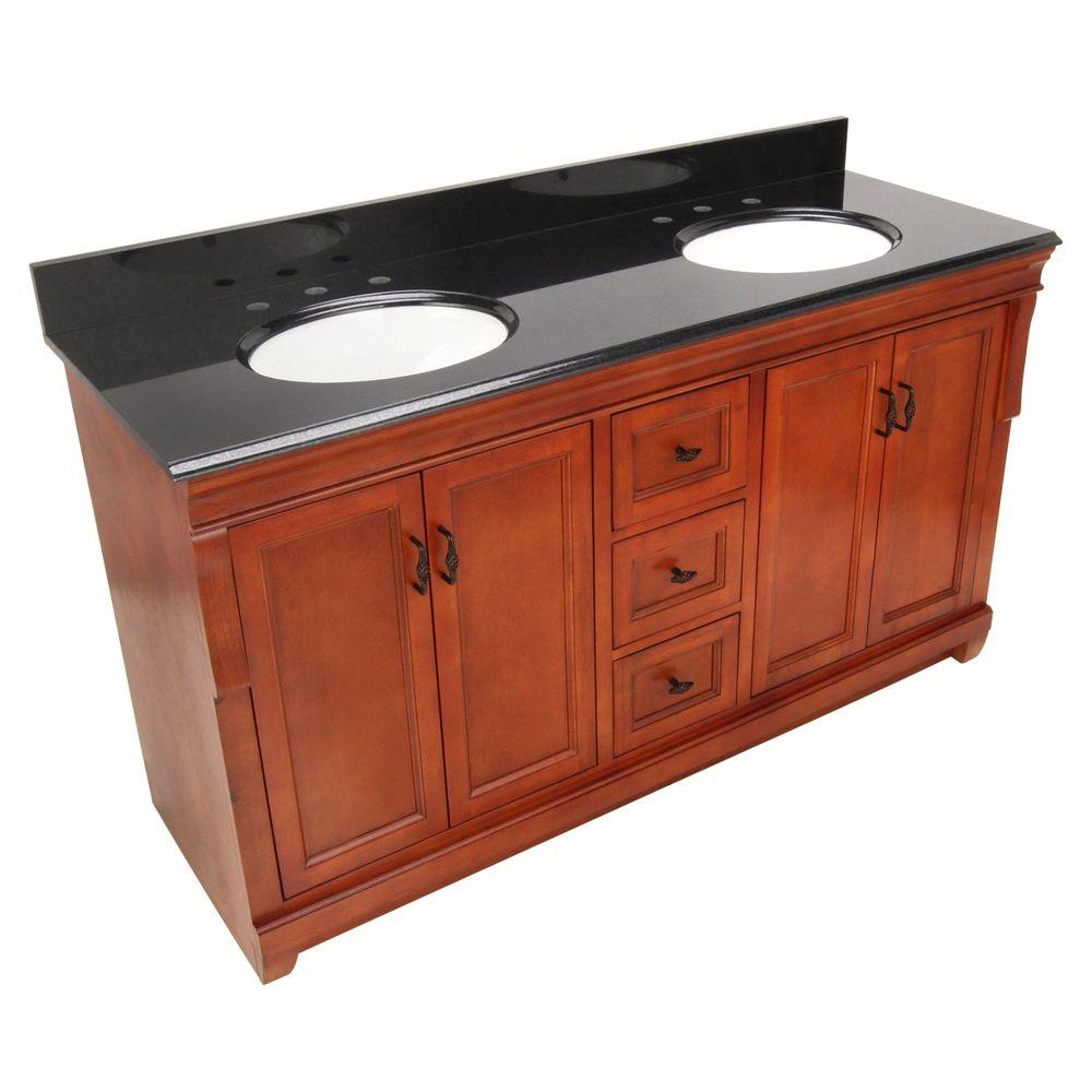 Foremost Naples 61 in. W x 22 in. D Vanity in Warm Cinnamon with Granite Vanity Top in Black with Double Bowls in White