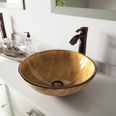Glass Vessel Bathroom Sink in Amber Sunset with Otis Faucet Set in Oil Rubbed Bronze