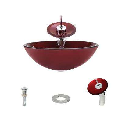 Glass Vessel Sink in Hand Painted Red with Waterfall Faucet and Pop-Up Drain in Chrome