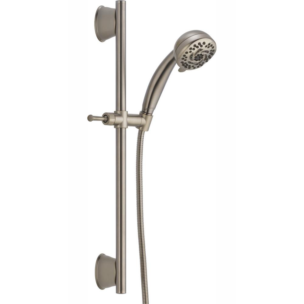 Delta 5-Spray Handheld Showerhead with Slide Bar in Stainless
