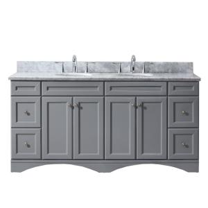 Virtu USA Talisa 72 inch W x 22 inch D Vanity in Grey with Marble Vanity Top in White with... by Virtu USA