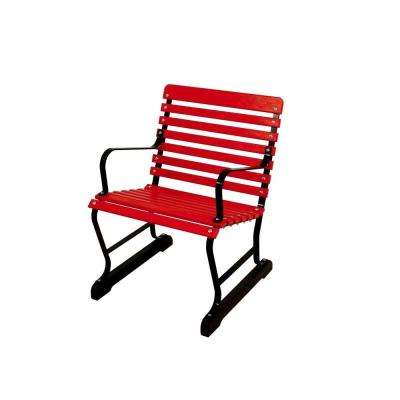 22 in. Black and Sunset Red Patio Arm Chair