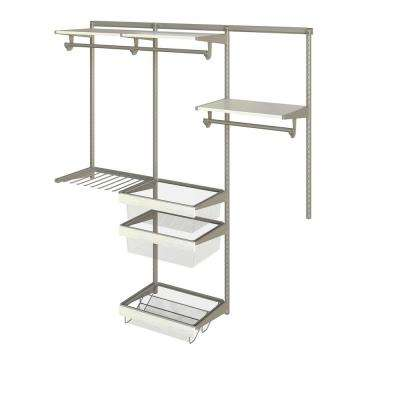 Closet Culture 16 in. D x 72 in. W x 78 in. H  with 3 White Oak Wood Shelves Steel Closet System