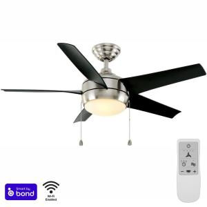Windward 44 in. Brushed Nickel LED Smart Ceiling Fan with Light Kit and Remote Works with Google Assistant and Alexa