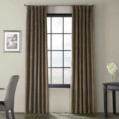 Signature Denver Taupe Brown Blackout Velvet Curtain - 50 in. W x 120 in. L