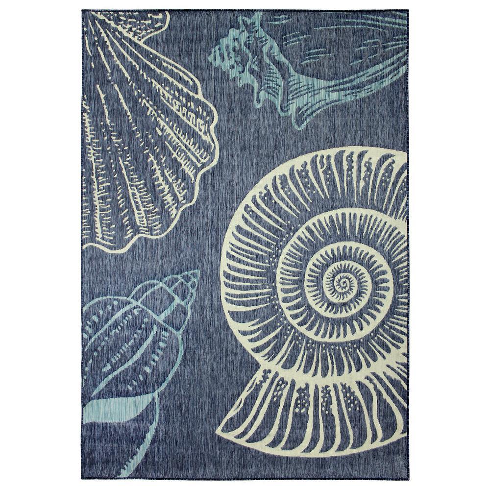 Blue Seashells Flat Woven Weave 5 ft. x 7 ft. Indoor/Outdoor Area Rug