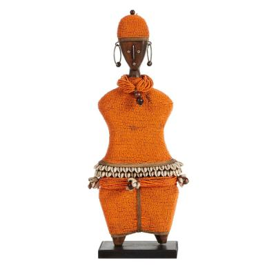 LITTON LANE Large Hand-Crafted Pine Wood, Cowrie Shells, Orange Beads and Kente Cloth African Woman Namji Doll