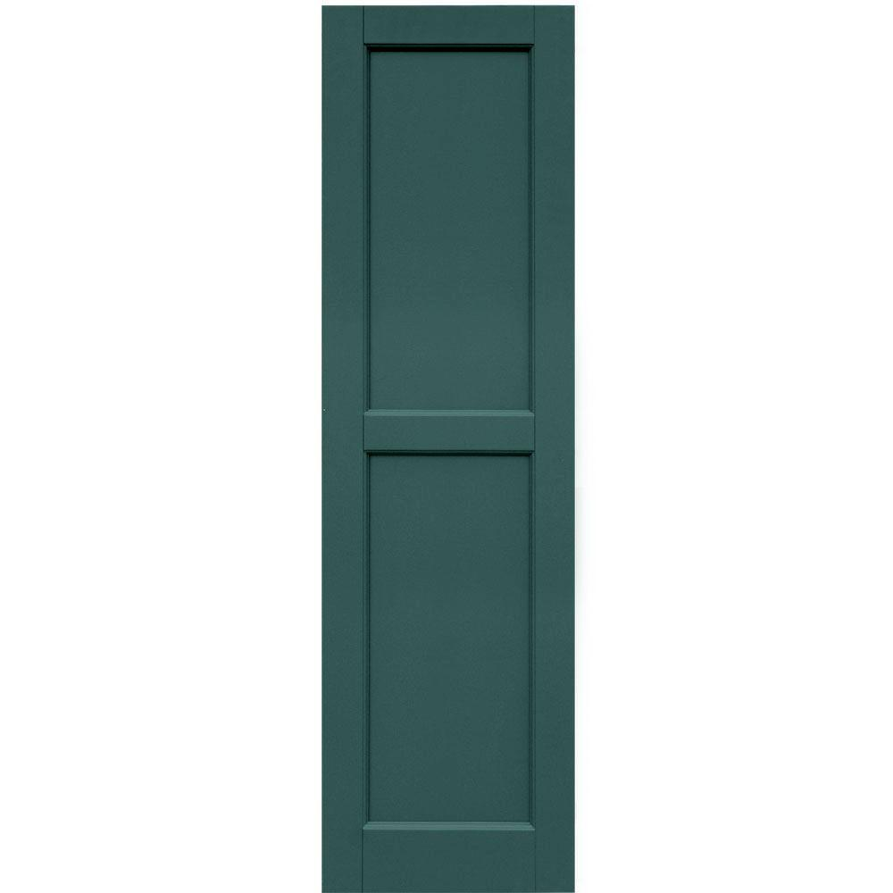 Winworks Wood Composite 15 in. x 53 in. Contemporary Flat Panel Shutters Pair #633 Forest Green