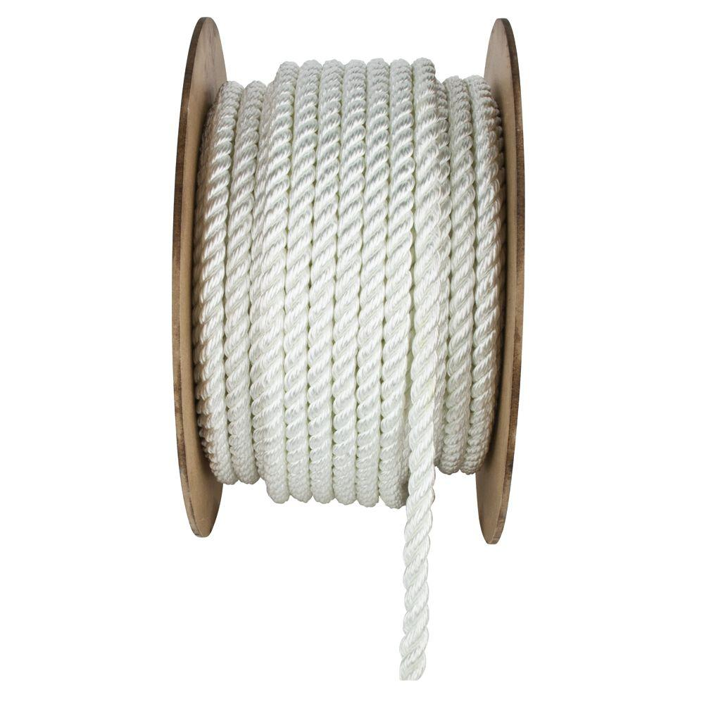 3/4 in. x 150 ft. White Twisted Nylon Rope