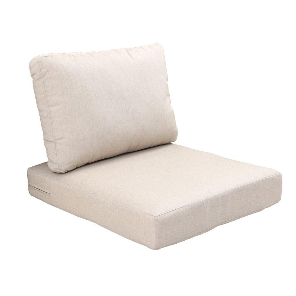 Hampton Bay Beverly Beige Replacement 2-Piece Outdoor Sectional Chair Cushion Set