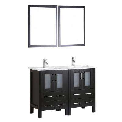 48 in. W Double Bath Vanity in Espresso with Ceramic Vanity Top with White Basin and Mirror