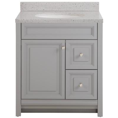 Brinkhill 31 in. W x 22 in. D Sink Vanity in Sterling Gray with Solid Surface Vanity Top in Silver Ash with White Sink