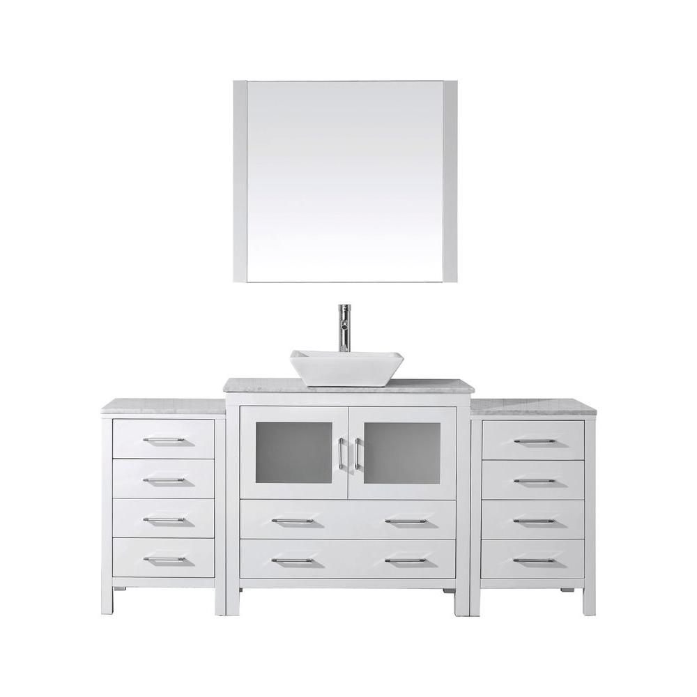 Virtu USA Dior 73 in. W Bath Vanity in White with Marble Vanity Top in White with Square Basin and Mirror and Faucet