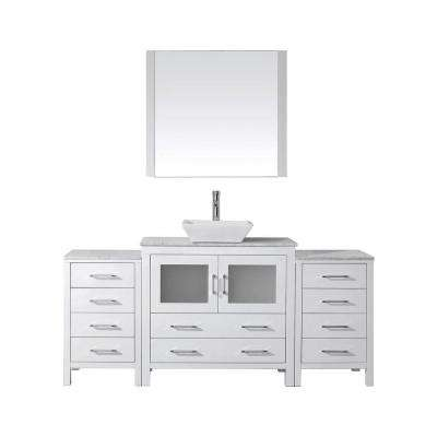 Dior 73 in. W Bath Vanity in White with Marble Vanity Top in White with Square Basin and Mirror and Faucet