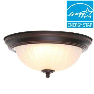 11 in. 100-Watt Equivalent Oil-Rubbed Bronze Integrated LED Flushmount with Frosted Glass Shade (2-Pack)