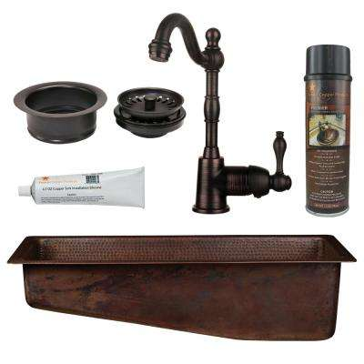 All-in-One Dual Mount Copper 28 in. Single Bowl Slanted Bar/Prep Sink with Faucet in Oil Rubbed Bronze