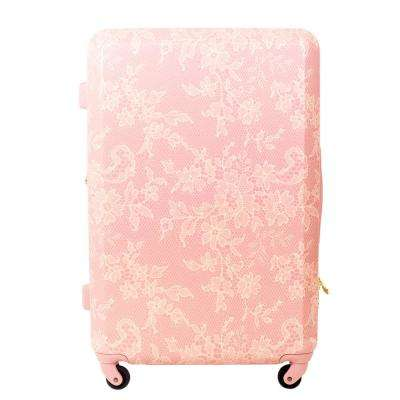 Lace Texture Hard Sided 29 in. Blush Pink Rolling Luggage Suitcase