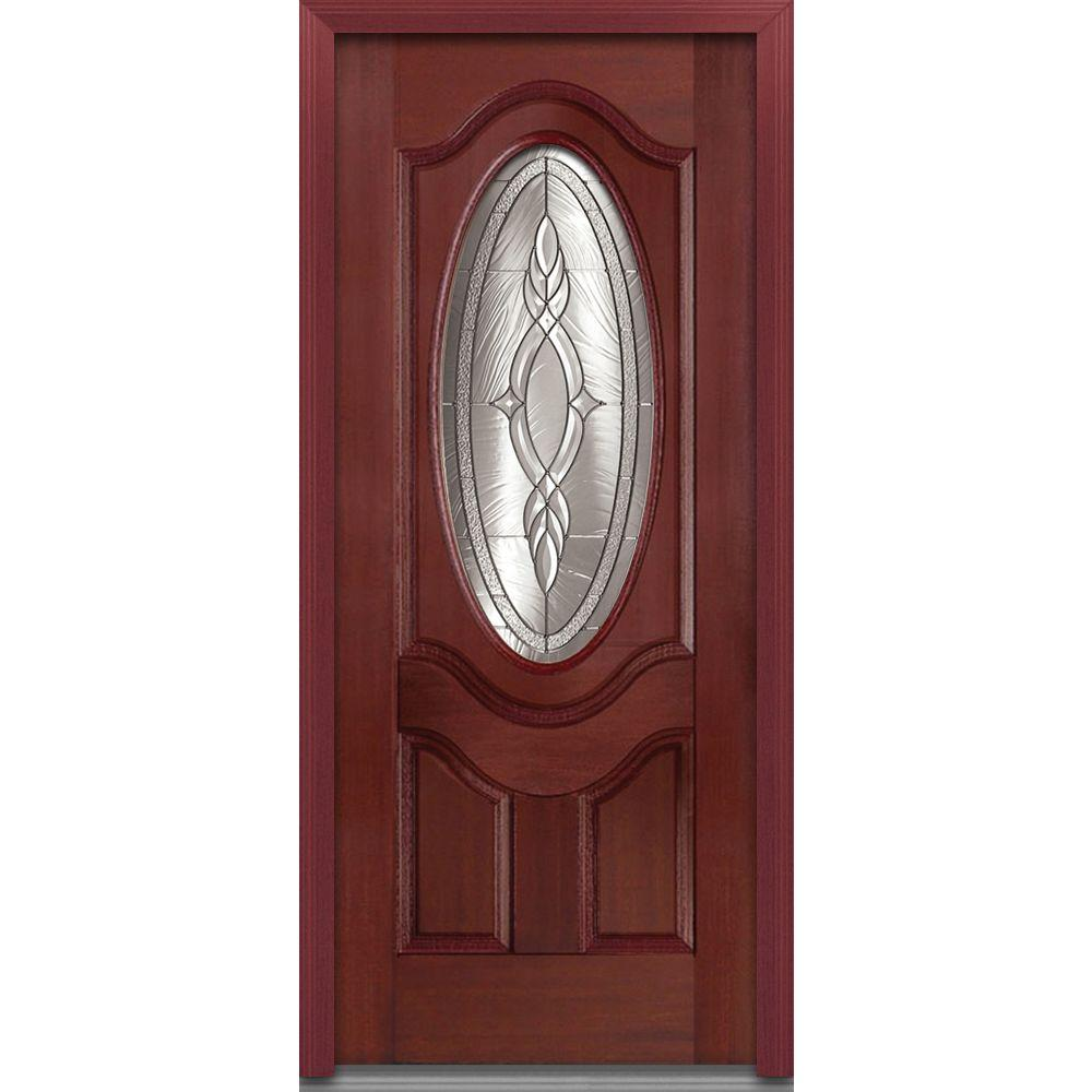 36 in. x 80 in. Brentwood Right-Hand 3/4 Oval Lite 2-Panel