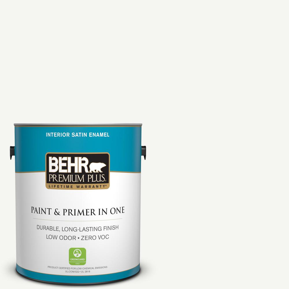 1 gal. #HDC-CT-18G Cotton Ball Zero VOC Satin Enamel Interior Paint