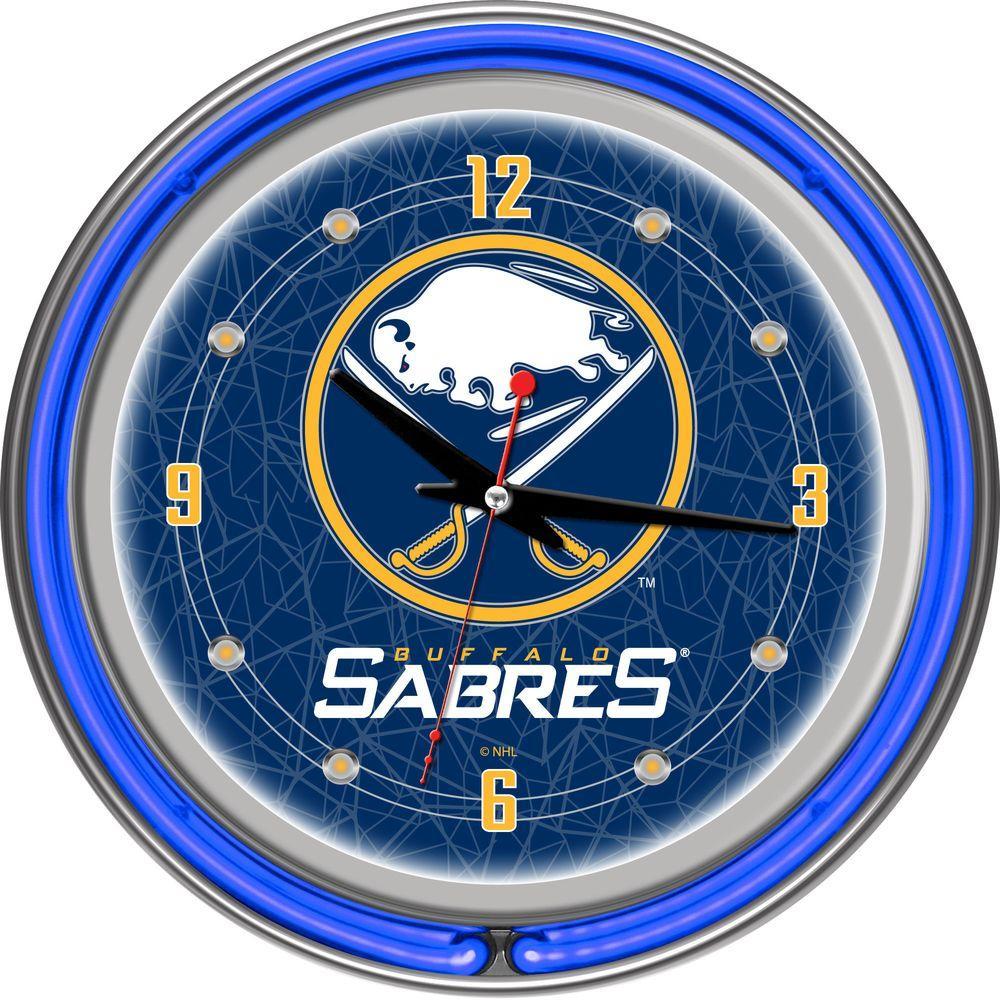 Trademark Global 14 in. Buffalo Sabres NHL Neon Wall Clock