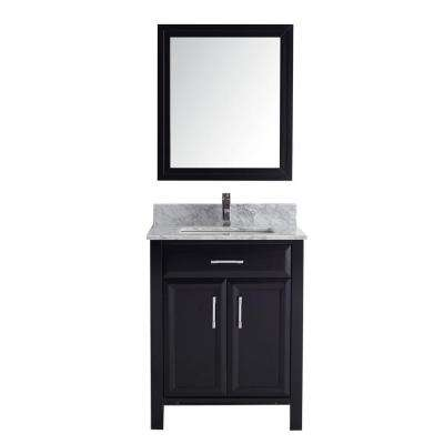Calais 28 in. Vanity in Espresso with Marble Vanity Top in Carrara and Mirror