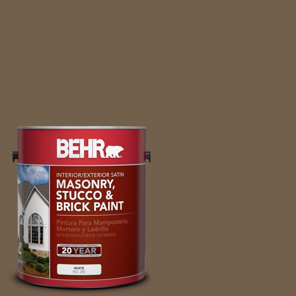 1-gal. #MS-46 Chestnut Brown Satin Interior/Exterior Masonry, Stucco and Brick Paint